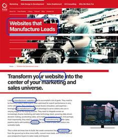 Website screenshot showing keyword-optimized copy
